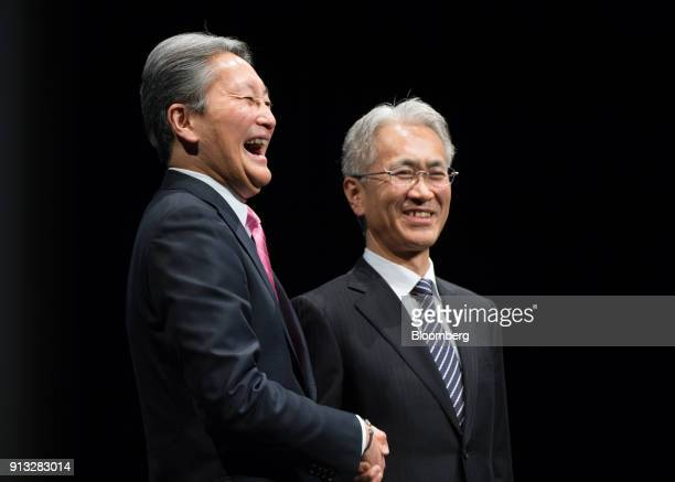 Kazuo Hirai incoming chairman of Sony Corp left reacts while shaking hands with Kenichiro Yoshida incoming chief executive officer during a news...