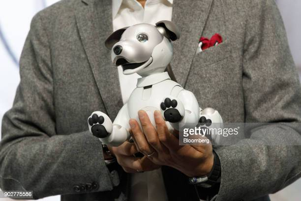 Kazuo Hirai president and chief executive officer of Sony Corp holds the Aibo robot dog during the company's press conference at the 2018 Consumer...