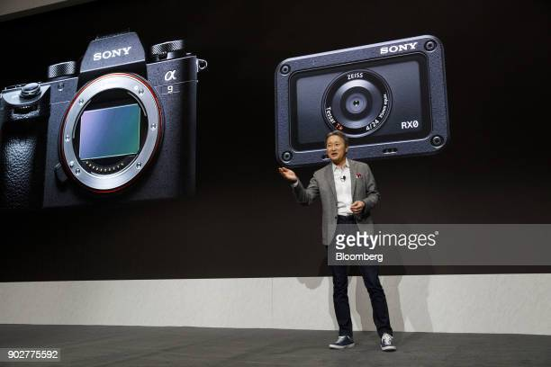 Kazuo Hirai president and chief executive officer of Sony Corp speaks about digital cameras during the company's press conference at the 2018...