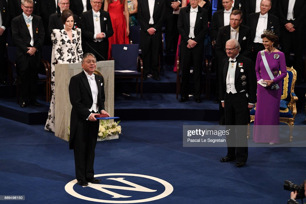 Kazuo Ishiguro, laureate of the Nobel Prize in Literature aknowledges applause after he received his Nobel Prize from King Carl XVI Gustaf of Sweden during the Nobel Prize Awards Ceremony at Concert Hall on December 10, 2017 in Stockholm, Sweden.