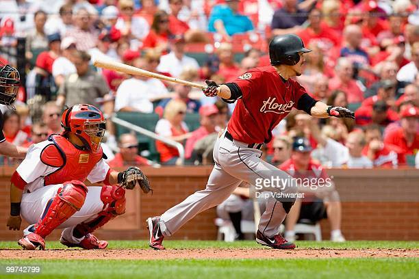 Kazuo Matsui of the Houston Astros bats against the St Louis Cardinals at Busch Stadium on May 13 2010 in St Louis Missouri The Astros beat the...