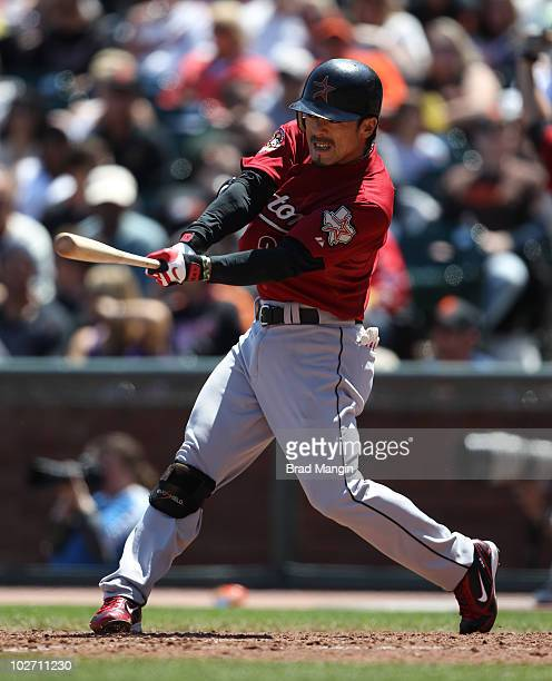 Kazuo Matsui of the Houston Astros bats during the game between the Houston Astros and the San Francisco Giants on Saturday May 15 at ATT Park in San...