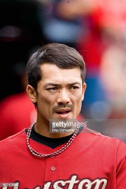Kazuo Matsui of the Houston Astros looks on from the dugout against the St Louis Cardinals at Busch Stadium on May 13 2010 in St Louis Missouri The...