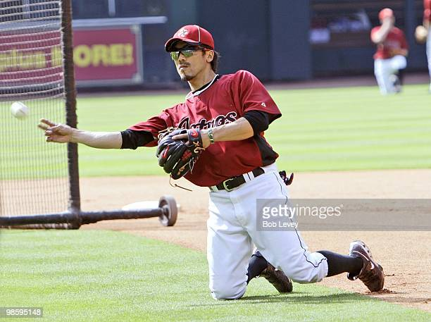 Kazuo Matsui of the Houston Astros takes infield practice before the Houston Astros game against the Florida Marlins at Minute Maid Park on April 20...