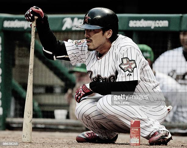 Kazuo Matsui of the Houston Astros waits on deck to bat against the Florida Marlins at Minute Maid Park on April 22 2010 in Houston Texas