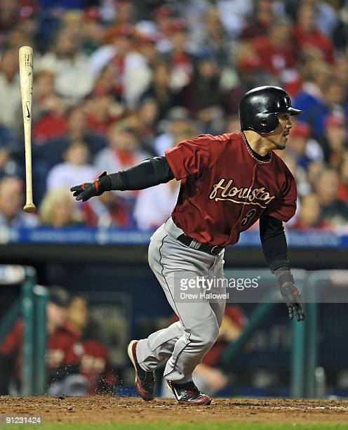Kazuo Matsui of the Houston Astros watches a the ball while hitting a two run double during the game against the Philadelphia Phillies on September...
