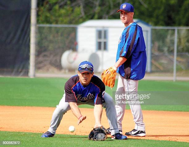 Kazuo Matsui of the New York Mets fields during a training camp on February 23 2006 in Port St Lucie Florida