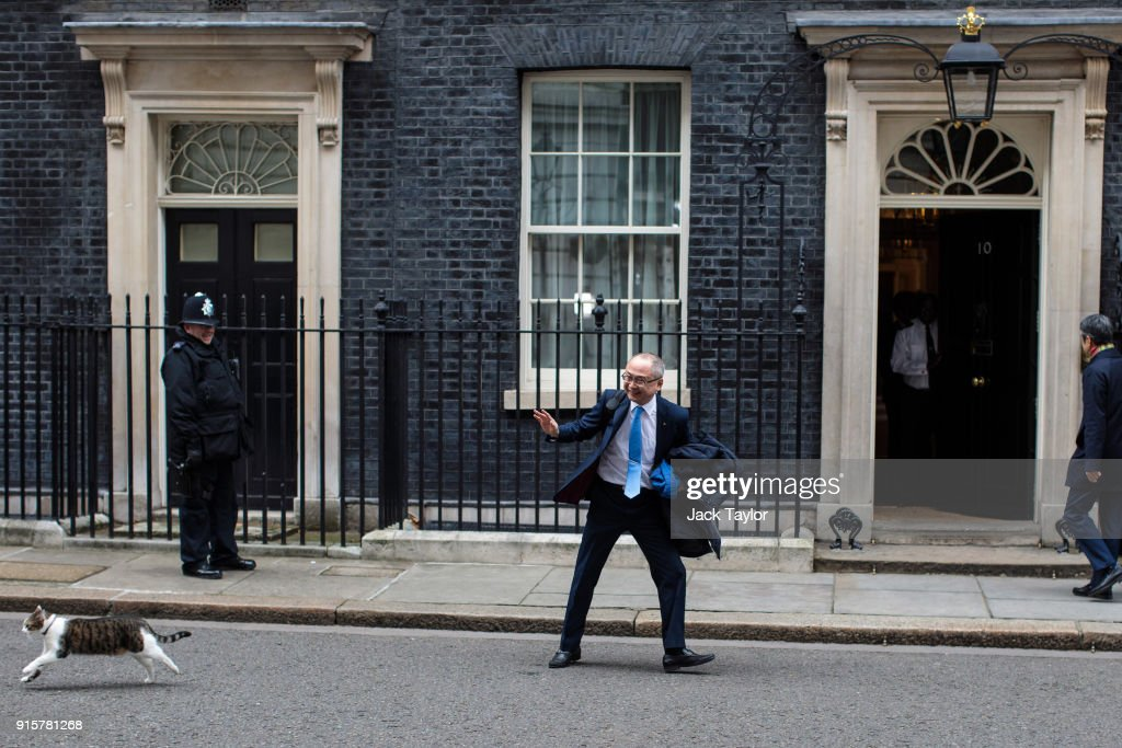 Kazuo Okamoto, chief executive of Mitsubishi Heavy Industries Europe attempts to stroke Larry the Downing Street cat ahead of a meeting with British Prime Minister Theresa May on February 8, 2018 in London, England. Mrs May hosts Japanese business leaders for a roundtable discussion today as the government seeks investment from other countries as Brexit negotiations continue.