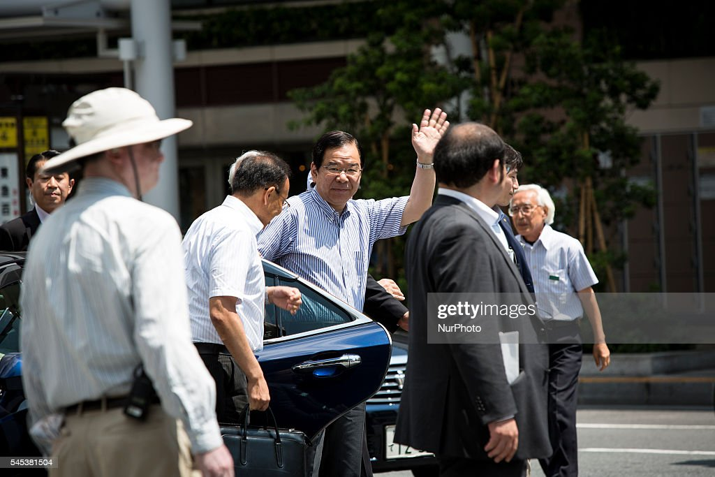 Kazuo Shii, Chairman of the of The Japanese Communist Party (JCP) arrives in venue to deliver a campaign speech for his party candidate Taku Yamazoe during the Upper House election campaign outside of Kichijji Station, Tokyo, Japan on July 7, 2016. Japan's upper house election will be held on this coming Sunday July 10, 2016.