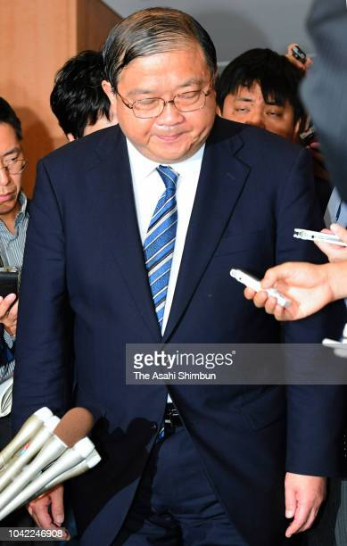 Education minister Yoshimasa Hayashi speaks during a press confernce on September 21 2018 in Tokyo Japan The education ministry's top bureaucrat...