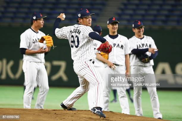 Kazuto Taguchi of Japan in action during the Eneos Asia Professional Baseball Championship Official Training Press Conference at Tokyo Dome on...