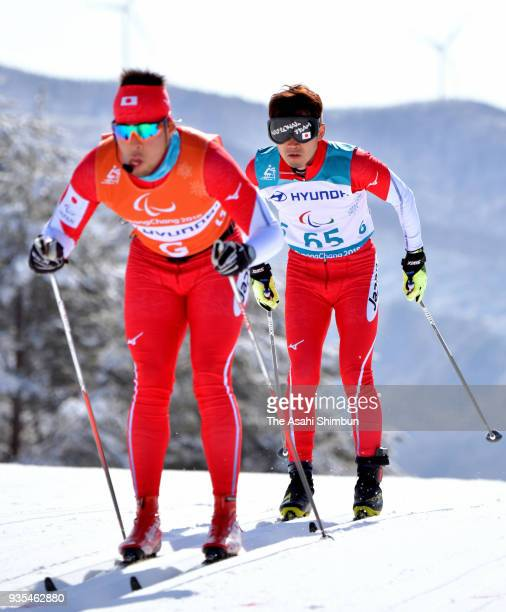 Kazuto Takamura of Japan competes in the Cross Country Men's 10km Visually Impaired on Day eight of the PyeongChang 2018 Paralympic Games on March 17...