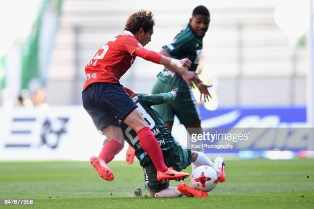 Kazuya Miyahara of Nagoya Grampus and Yushi Nagashima of FC Gifu compete for the ball during the JLeague J2 match between Nagoya Grampus and FC Gifu...
