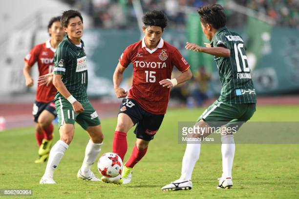 Kazuya Miyahara of Nagoya Grampus in action during the JLeague J2 match between FC GIfu and Nagoya Grampus at Nagaragawa Stadium on October 1 2017 in...