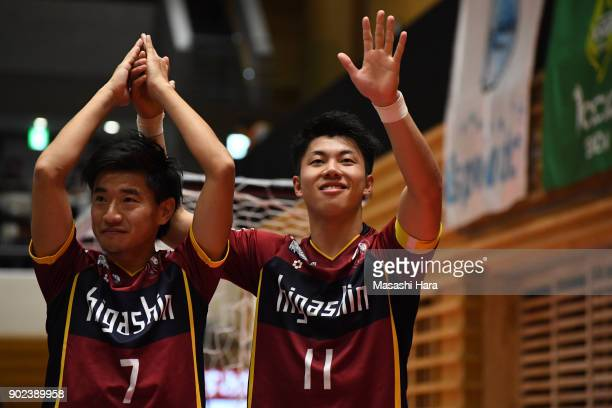Kazuya Shimizu and Kotaro Inaba of Fugador Sumida celebrate the win after the FLeague match between Fugador Sumida and Bardral Urayasu at the...