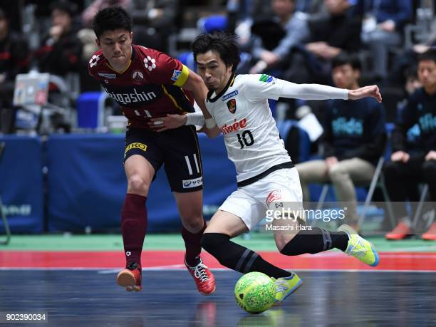 Kazuya Shimizu of Fugador Sumida and Masaki Iwamoto of Bardral Urayasu compete for the ball during the FLeague match between Fugador Sumida and...