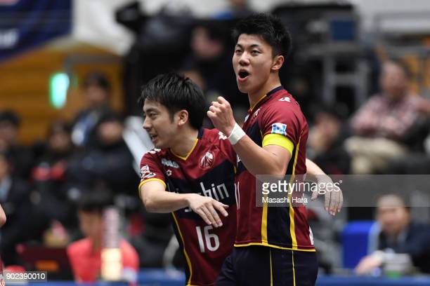 Kazuya Shimizu of Fugador Sumida celebrates the fourth goal during the FLeague match between Fugador Sumida and Bardral Urayasu at the Komazawa...
