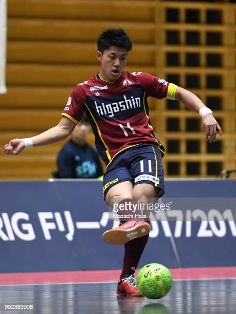 Kazuya Shimizu of Fugador Sumida in action during the FLeague match between Fugador Sumida and Bardral Urayasu at the Komazawa Gymnasium on January 7...