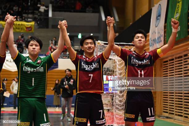 Kazuya ShimizuKotaro Inaba and Shotaro Ookuro of Fugador Sumida celebrate the win after the FLeague match between Fugador Sumida and Bardral Urayasu...