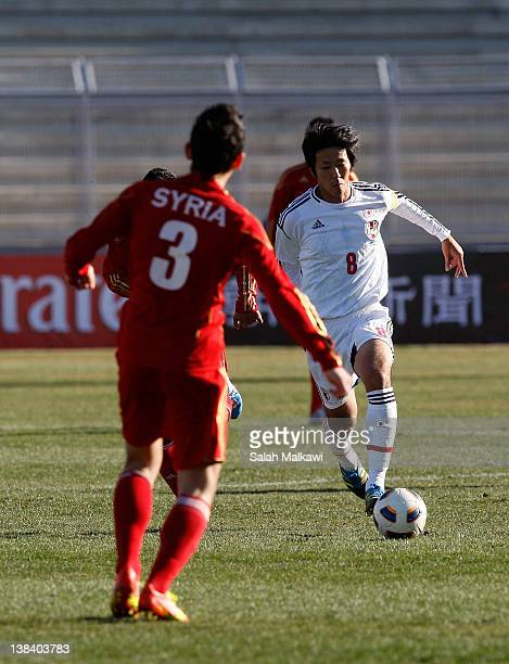 Kazuya Yamamura of Japan in action during the London Olympic Men's Soccer Asian qualifier Group C match between Syria and Japan at King Abdullah...