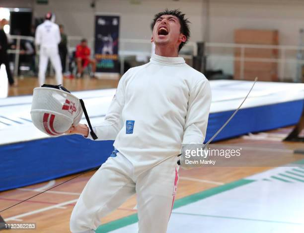 Kazuyasu Minobe of Japan celebrates a win during finals competition at the Men's Epee World Cup on March 23 2019 at the Centro Nacional De Alto...