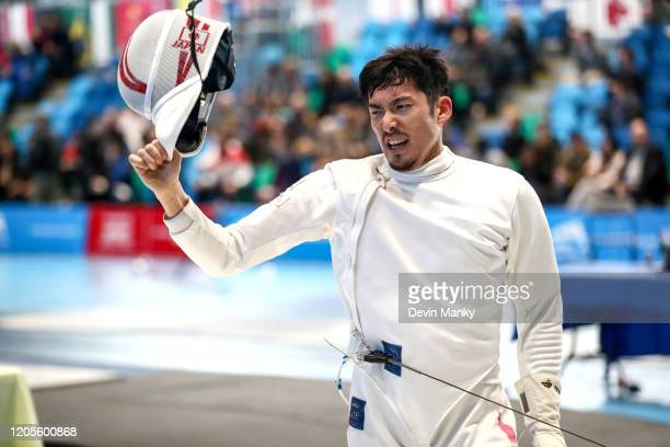 Kazuyasu Minobe of Japan celebrates a win during the individual finals at the Peter Bakonyi Men's Epee World Cup on February 8 2020 at the Richmond...