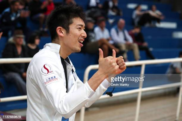 Kazuyasu Minobe of Japan cheers on his teammates during the team competition at the Men's Epee World Cup on March 24 2019 at the Centro Nacional De...