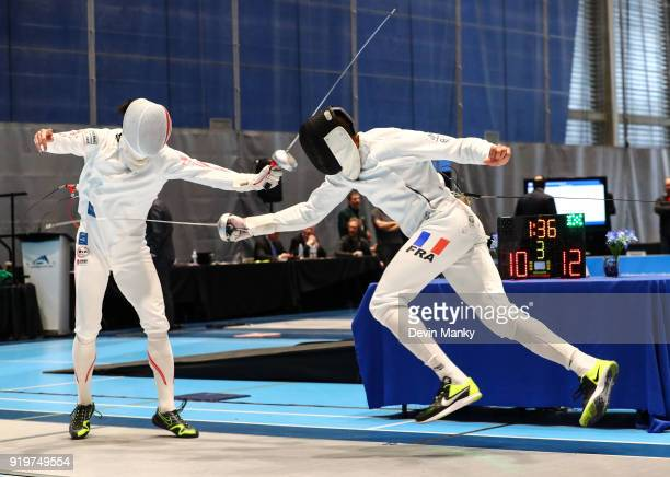 Kazuyasu Minobe of Japan fences Daniel Jerent of France during competition at the Peter Bakonyi Men's Epee World Cup on February 17 2018 at the...