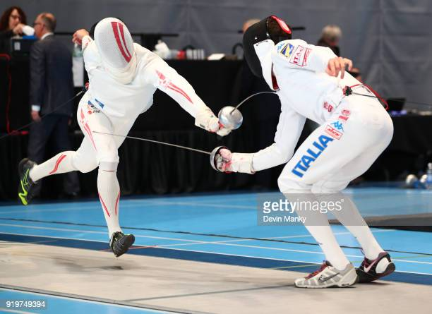 Kazuyasu Minobe of Japan fences Matteo Tagliariol of Italy during competition at the Peter Bakonyi Men's Epee World Cup on February 17 2018 at the...