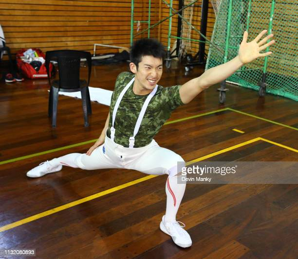 Kazuyasu Minobe of Japan stretches before preliminary competition at the Men's Epee World Cup on March 22 2019 at the Centro Nacional De Alto...