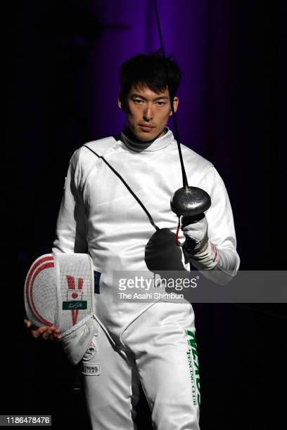 Kazuyasu Minobe poses prior to the Men's Epee final against Masaru Yamada during day two of the 72nd All Japan Fencing Championships at LINE CUBE...