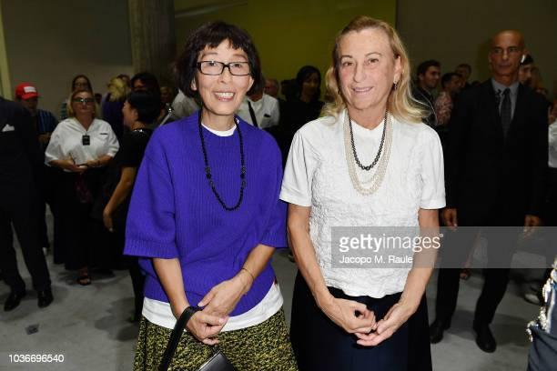 Kazuyo Sejima and Miuccia Prada attends Prada Spring/Summer 2019 Womenswear Fashion Show on September 20, 2018 in Milan, Italy.