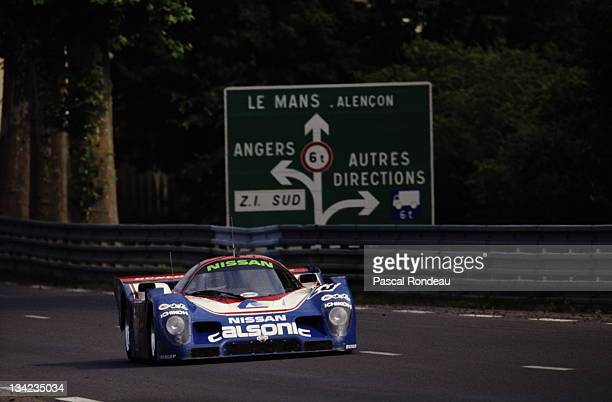 Kazuyoshi Hoshino of Japan drives the Nissan Motorsports International Nissan R90CP along Tertre Rouge during practice for the FIA World Sportscar...