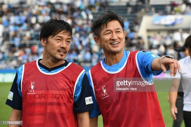 Kazuyoshi Miura and Daisuke Matsui of Yokohama FC look on after the J.League J2 match between Yokohama FC and Kashiwa Reysol at Nippatsu Mitsuzawa...