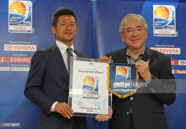 Kazuyoshi Miura and President of the Japan Football Association Junji Ogura pose after the FIFA Club World Cup Ambassador appointment press...