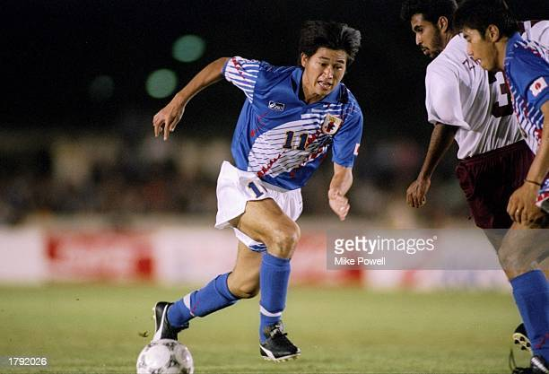 Kazuyoshi Miura of Japan in action during a game against Qatar at the Asian Games in Hiroshima Japan Mandatory Credit Mike Powell /Allsport
