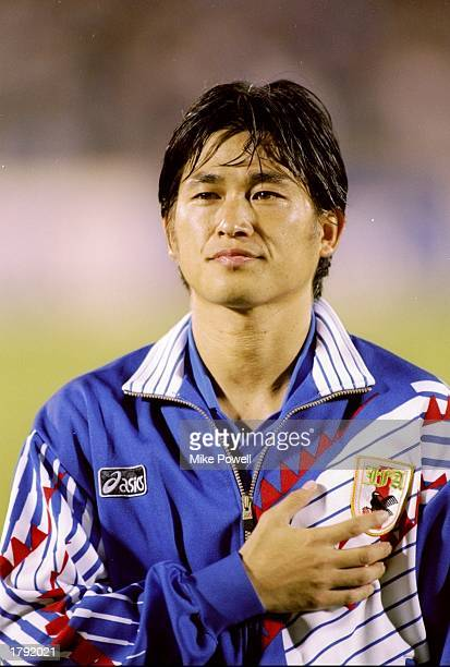 Kazuyoshi Miura of Japan looks on during a game against Malaysia at the Asian Games in Hiroshima Japan Mandatory Credit Mike Powell /Allsport