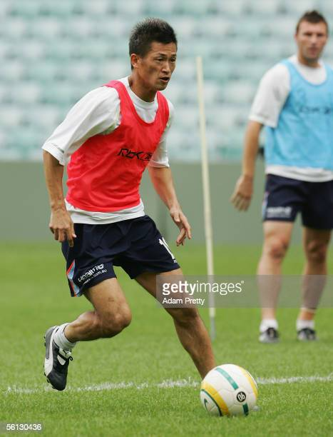 Kazuyoshi Miura of the Sydney FC in action during training at Aussie Stadium November 10 2005 in Sydney Australia Miura will play four guest matches...