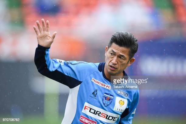 Kazuyoshi Miura of the Yokohama FC looks on prior to the JLeague J2 match between Omiya Ardija and Yokohama FC at NACK 5 Stadium Omiya on June 10...
