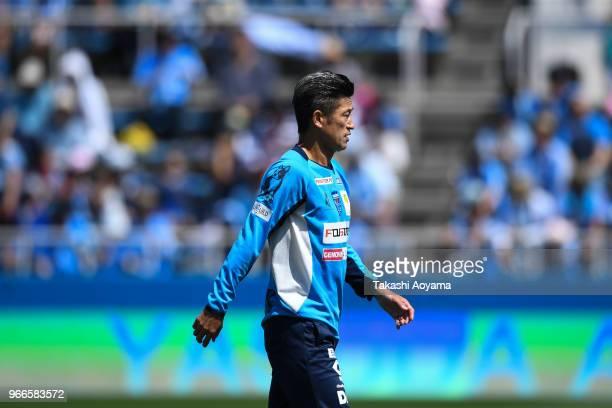 Kazuyoshi Miura of the Yokohama FC warms up prior to the JLeague J2 match between Yokohama FC and Tokyo Verdy at Nippatsu Mitsuzawa Stadium on June 3...