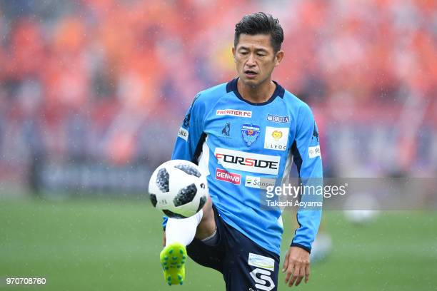 Kazuyoshi Miura of the Yokohama FC warms up prior to the JLeague J2 match between Omiya Ardija and Yokohama FC at NACK 5 Stadium Omiya on June 10...