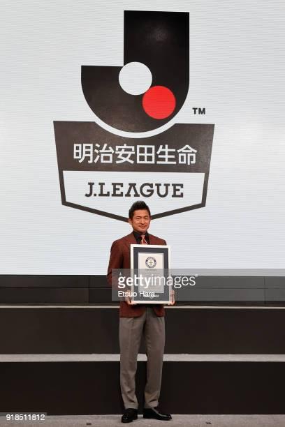 Kazuyoshi Miura of Yokohama FC attends the J.League Kick Off Conference on February 15, 2018 in Tokyo, Japan.