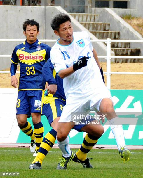 Kazuyoshi Miura of Yokohama FC in action during the JLeague second division match between Thespa Kusatsu Gunma and Yokohama FC at Shoda Shoyu Stadium...
