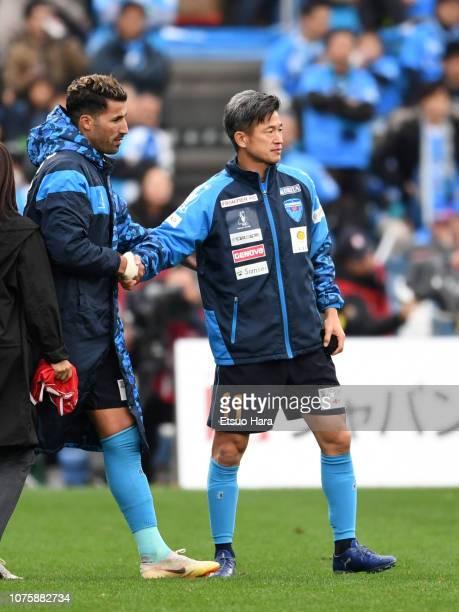 Kazuyoshi Miura of Yokohama FC looks on after the JLeague J1/J2 PlayOff second round match between Yokohama FC and Tokyo Verdy at Nippatsu Mitsuzawa...