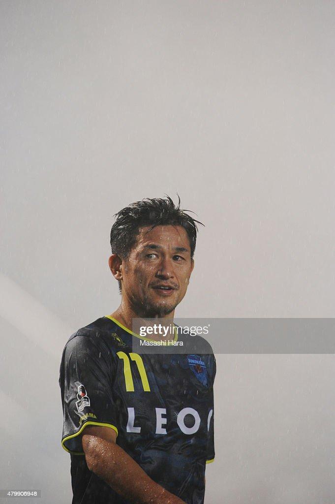 Kazuyoshi Miura #11 of Yokohama FC looks on after the J.League second division match between Yokohama FC and Cerezo Osaka at Nippatsu Mitsuzawa Stadium on July 8, 2015 in Yokohama, Kanagawa, Japan.