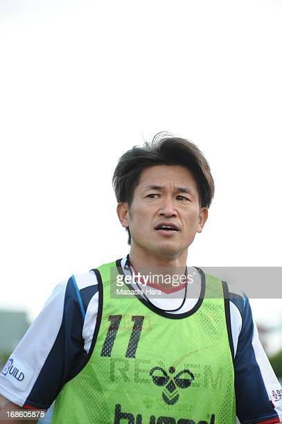 Kazuyoshi Miura of Yokohama FC looks on during the JLeague second division match between Yokohama FC and Ehime FC at Nippatsu Mitsuzawa Stadium on...