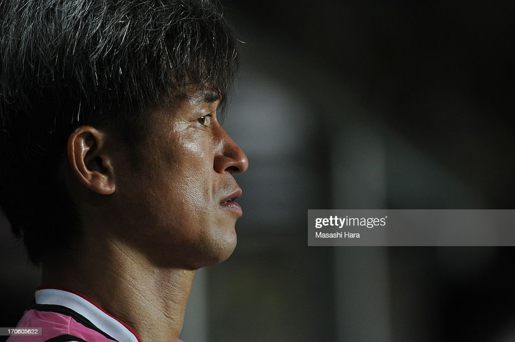 Kazuyoshi Miura #11 of Yokohama FC looks on during the J.League second division match between JEF United Chiba and Yokohama FC at Fukuda Denshi Arena on June 15, 2013 in Chiba, Japan.