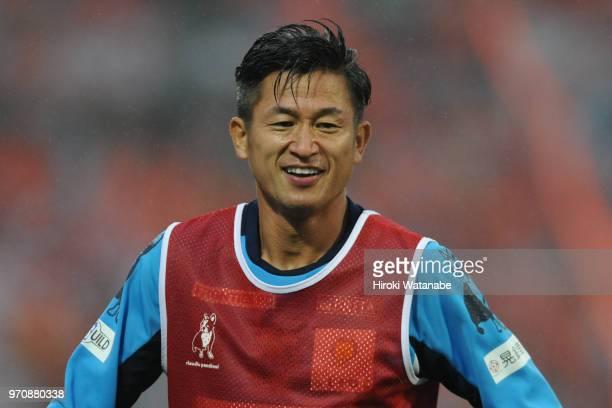 Kazuyoshi Miura of Yokohama FC looks on prior to the JLeague J2 match between Omiya Ardija and Yokohama FC at NACK 5 Stadium Omiya on June 10 2018 in...