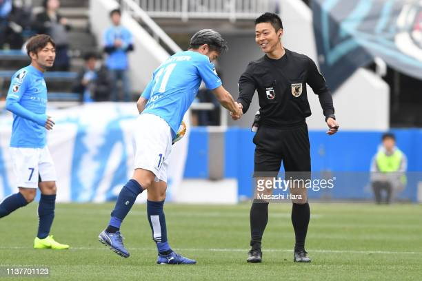 Kazuyoshi Miura of Yokohama FC participates as a starting member at the age of 52 and 25 days.Kazuyoshi Miura of Yokohama FC shakes hands with...