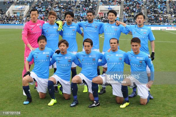 Kazuyoshi Miura of Yokohama FC participates as a starting member at the age of 52 and 25 days.Players of Yokohama FC pose for photographs prior to...